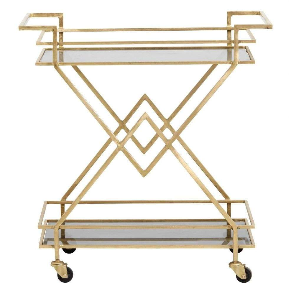 Golden Trolley  with Black Glass - SAK Home