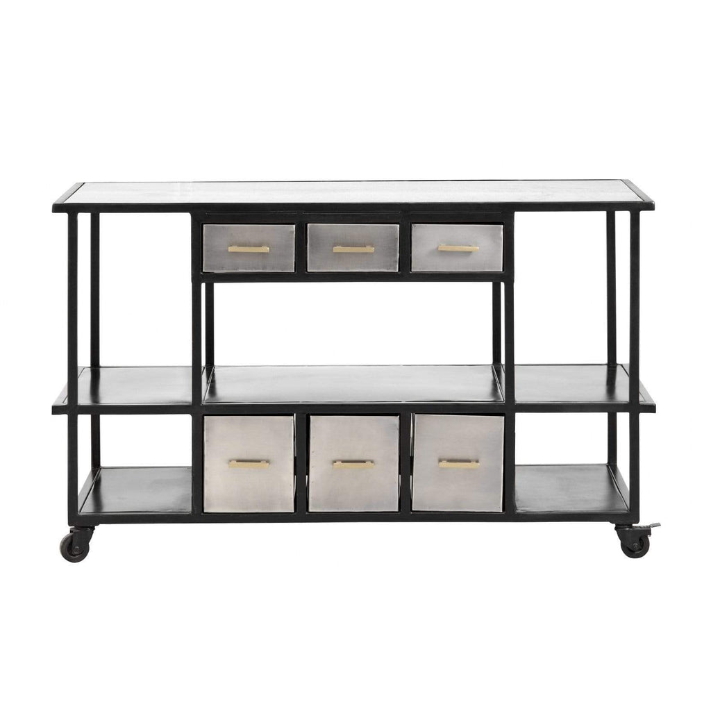 Iron Console With Drawers Marble Top Grey - SAK Home