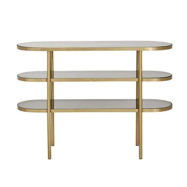 Oval Console Table Golden/black Glass - SAK Home