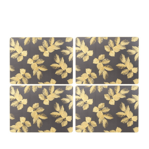 Sara Miller - Etched Leaves Placemats S/4 - Dark Grey (s) - SAK Home