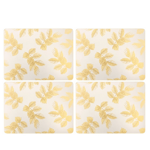 Sara Miller - Etched Leaves Placemats S/4 - Light Grey (s) - SAK Home