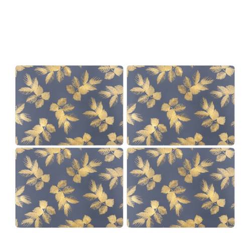 Sara Miller - Etched Leaves Placemats S/4 - Navy (s) - SAK Home