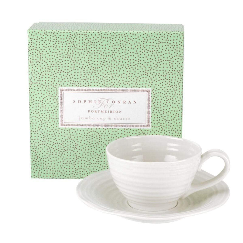 Sophie Conran for Portmeirion White Jumbo Cup and Saucer - SAK Home