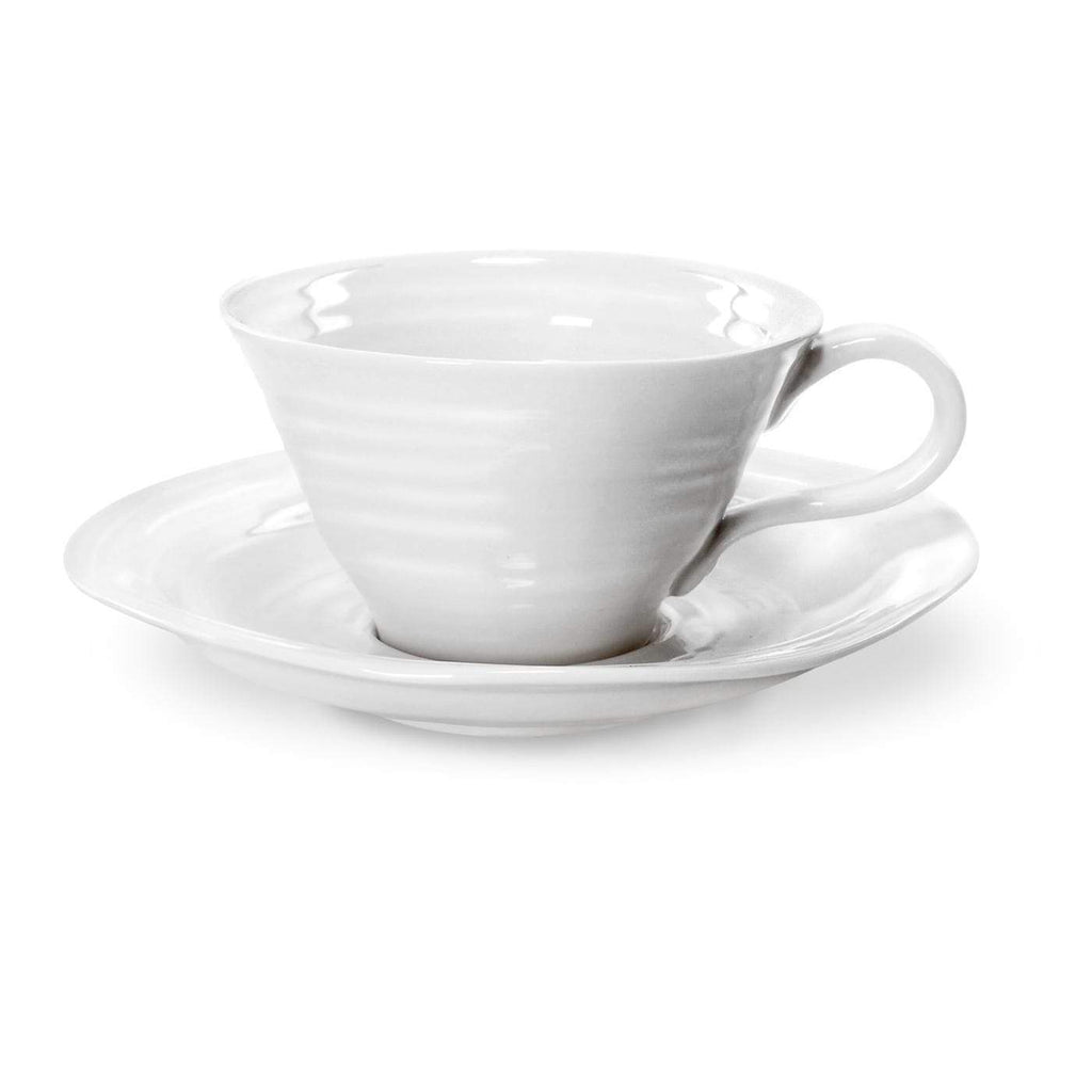 Sophie Conran for Portmeirion White Tea Cup and Saucer Set of 4 - SAK Home