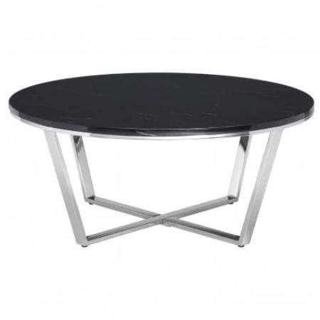 Alisa Round Black Faux Marble Coffee Table - SAK Home