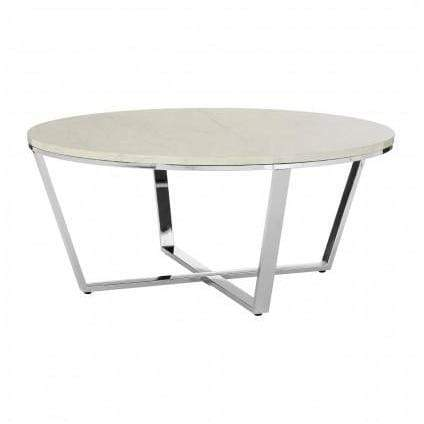 Alisa Round White Faux Marble Coffee Table - SAK Home