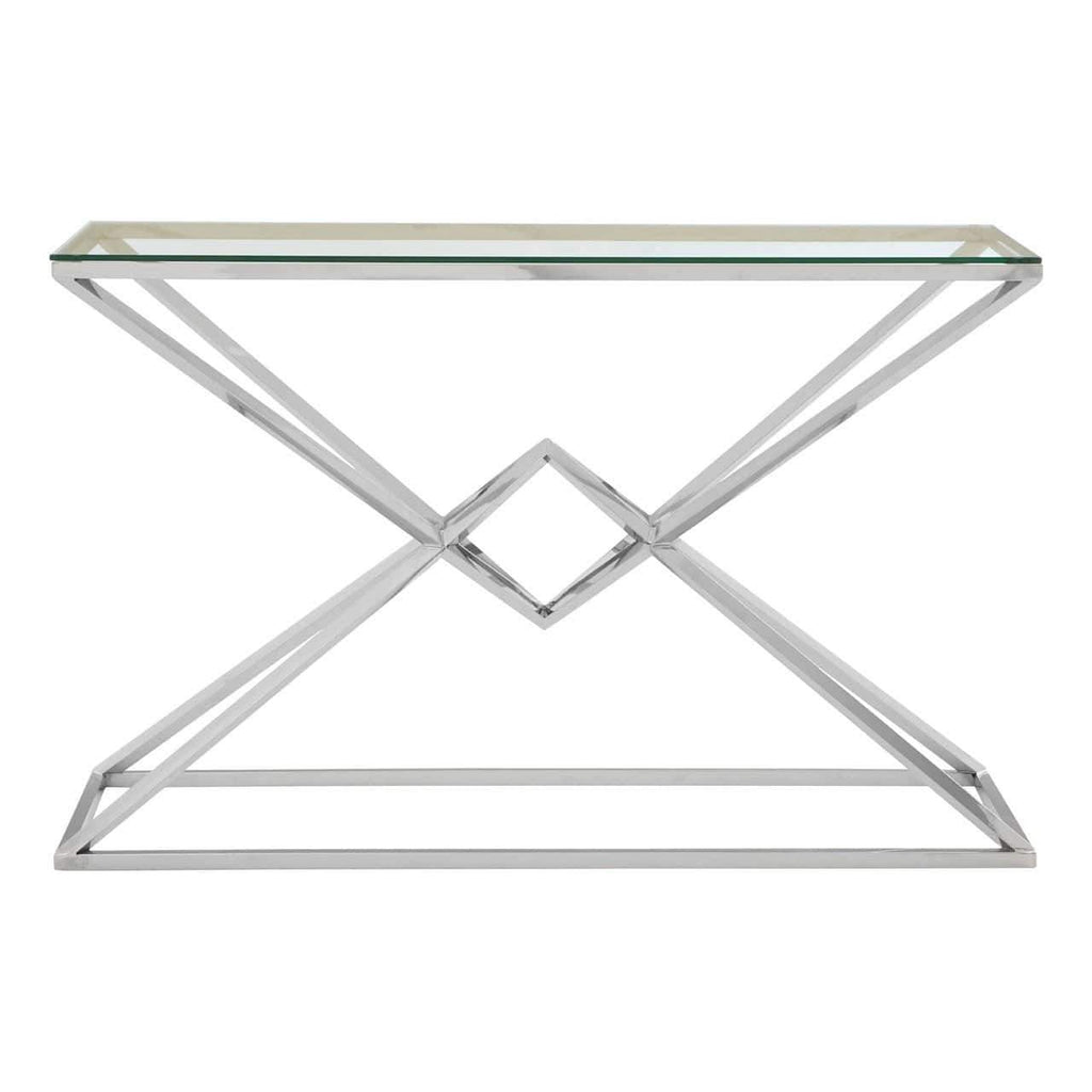 Alisa Corseted Silver Console Table - SAK Home