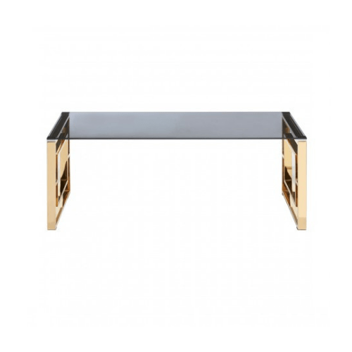 Alisa Gold Finish Square Legs Coffee Table - SAK Home