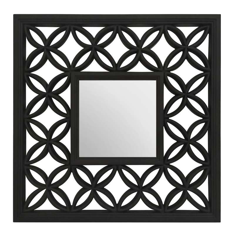 Square Black Lattice Frame Wall Mirror - SAK Home