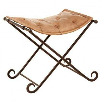 Baffa folding stool, light brown leather,iron - SAK Home