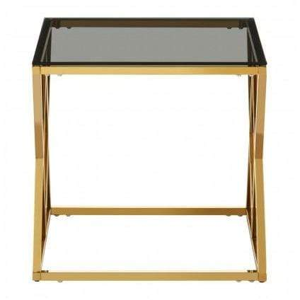 Aloppe Gold Finish End Table - SAK Home