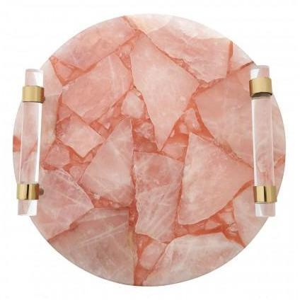 Bird Pink Quartz Round Tray - SAK Home