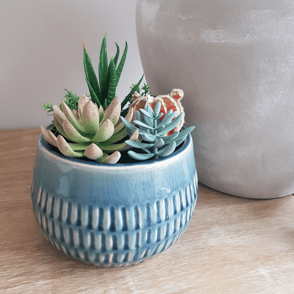 Blue Ceramic Crackle Glaze Planter With A Mix Of Artificial Succulents & Cactus - SAK Home