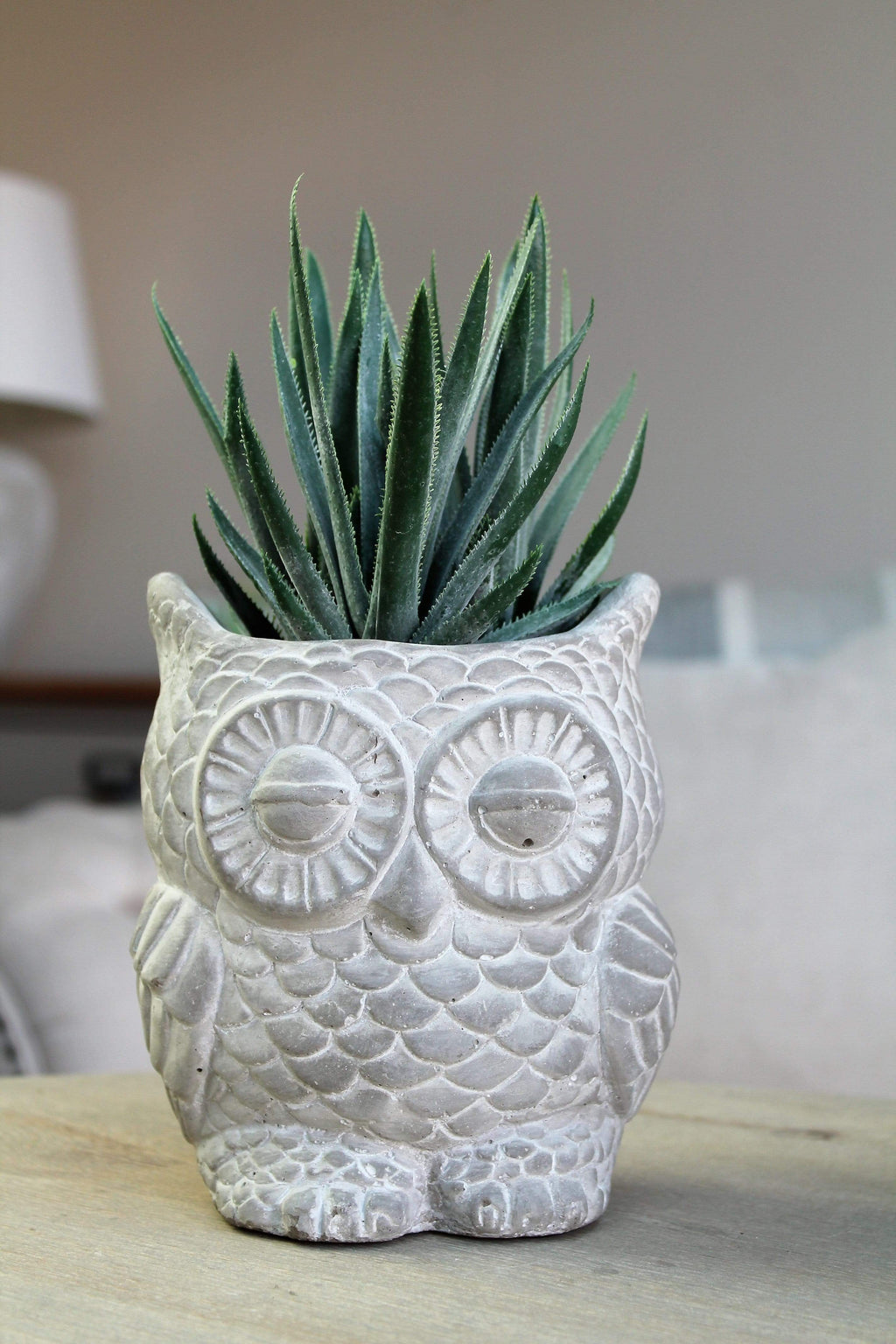 Decorative Owl With Green Artificial Plant - SAK Home