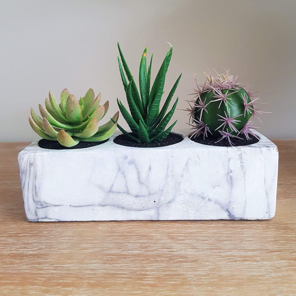 Marble Block Planter with 3 Artificial Plants and Cactus - SAK Home