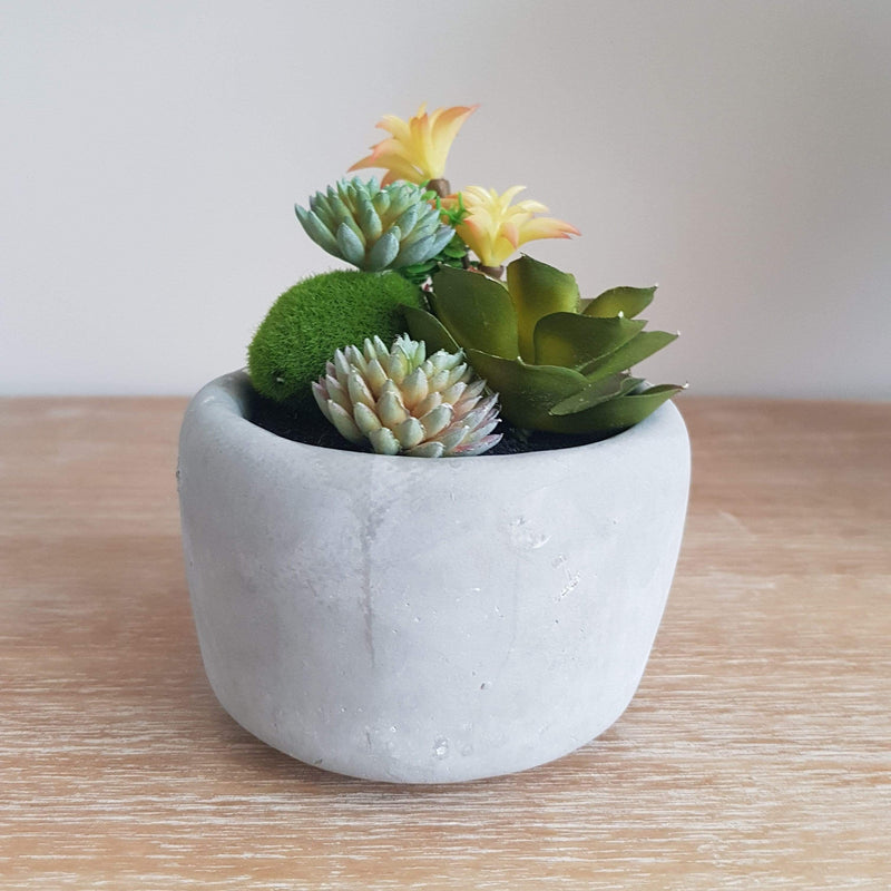 Natural Grey Planter With A Mix Of Artificial Plants - SAK Home