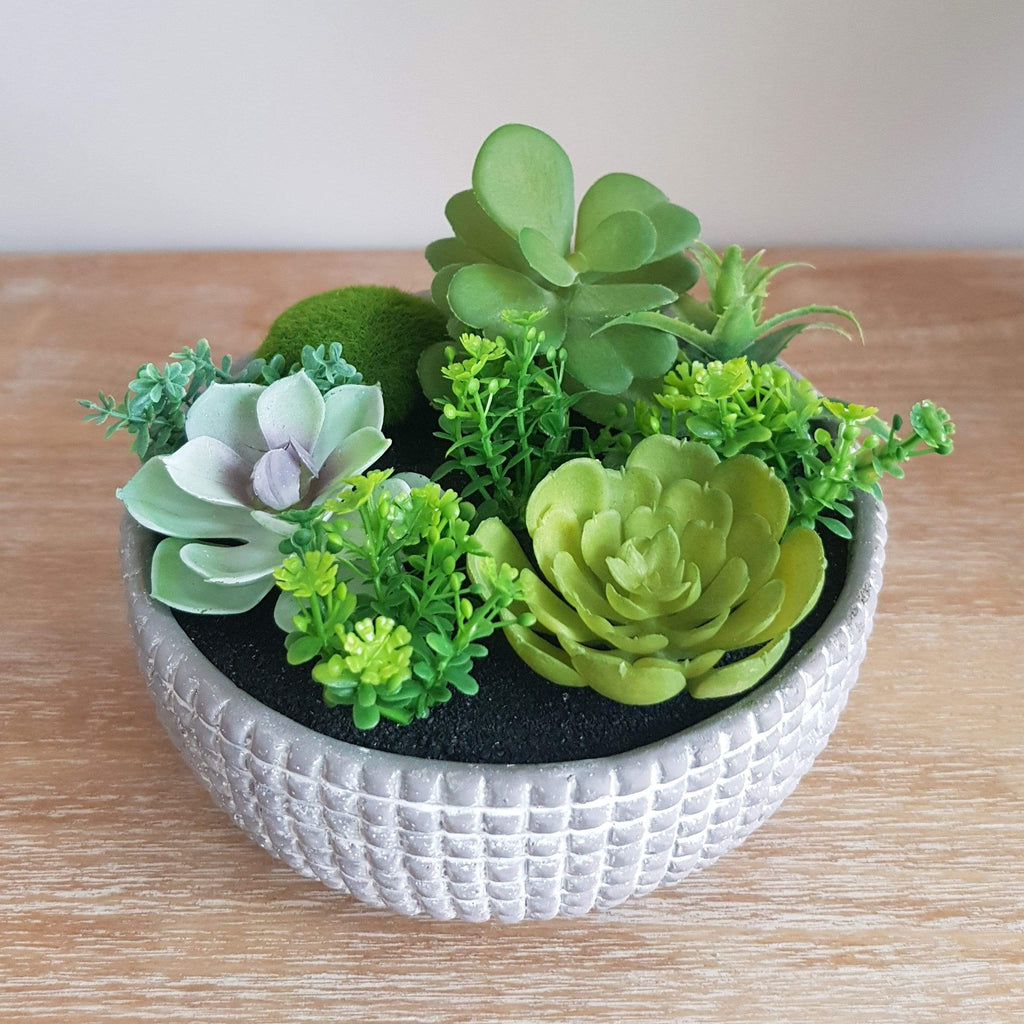 Textured Grey Bowl Filled With A Mix Of Artificial Plants - SAK Home