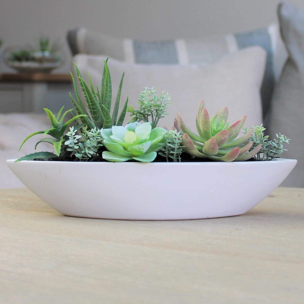 White Ceramic Boat Filled With Mixed Artificial Succulents - SAK Home