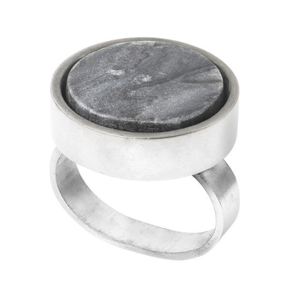Napkin Rings - Grey Marble & Chrome - SAK Home