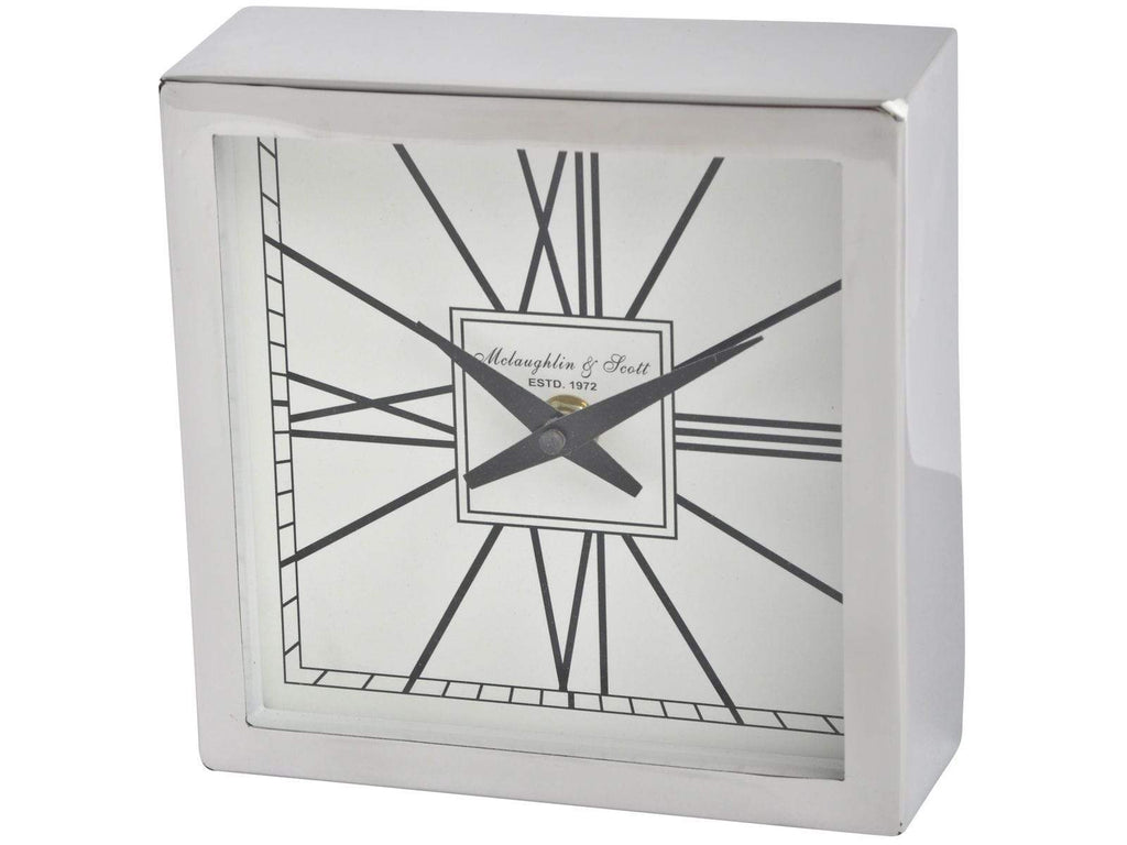Square Silver Mantel Clock - SAK Home