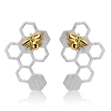 Load image into Gallery viewer, Handmade Honeycomb Dangle Earrings - Sterling Silver