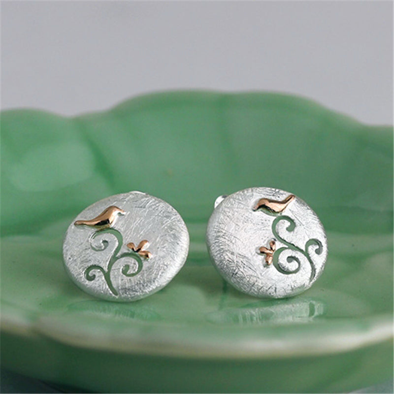 Handmade 'Birds on a branch' Stud Earrings