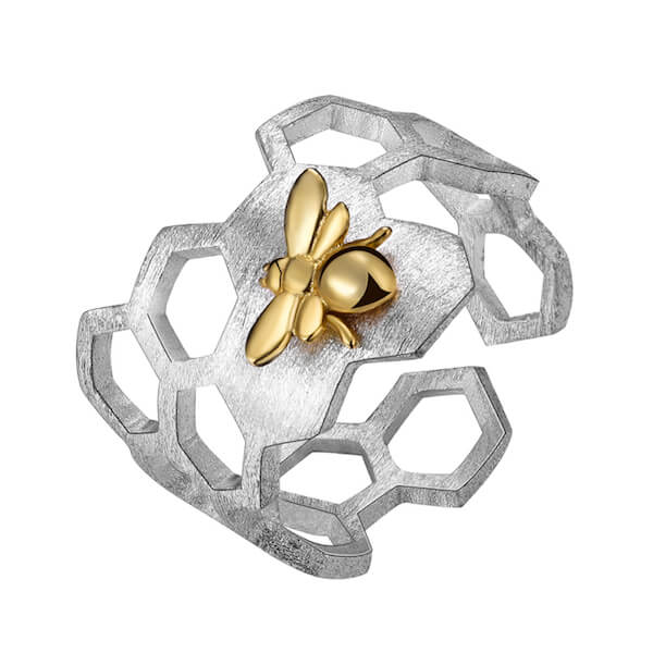 Honeycomb Gold Bee Ring
