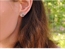 Load image into Gallery viewer, Handmade 'Flower in the Rain' Stud Earrings - Sterling Silver 925