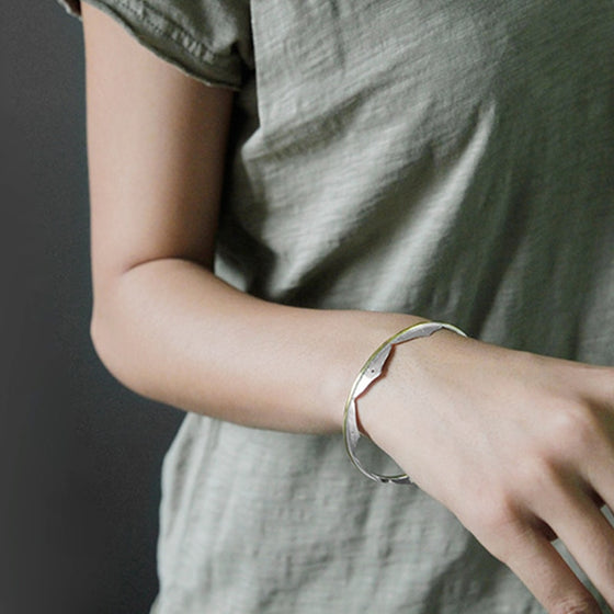 Handmade Minimalistic Lotus Flower Bangle