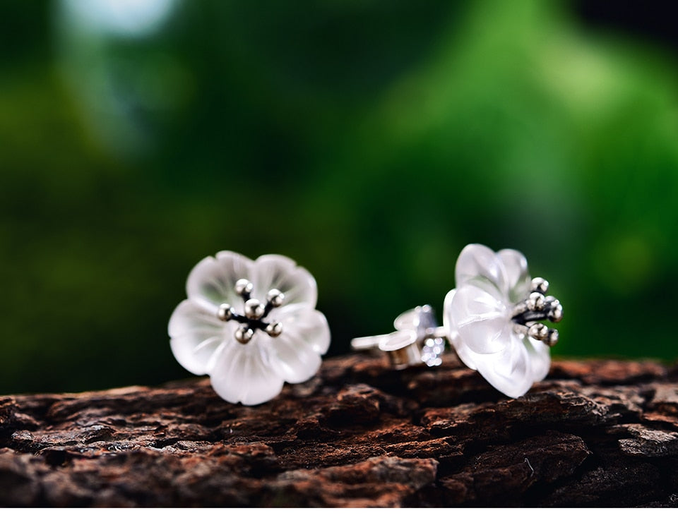 Handmade 'Flower in the Rain' Stud Earrings - Sterling Silver 925