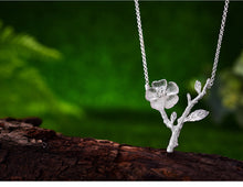 Load image into Gallery viewer, Handmade 'Flower in the Rain' Pendant Necklace - Sterling Silver 925