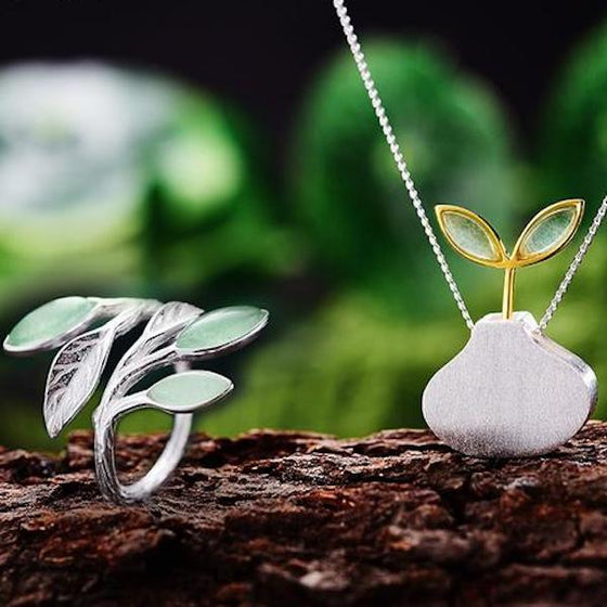 Handmade 'Spring in the Air' silver Jewellery set