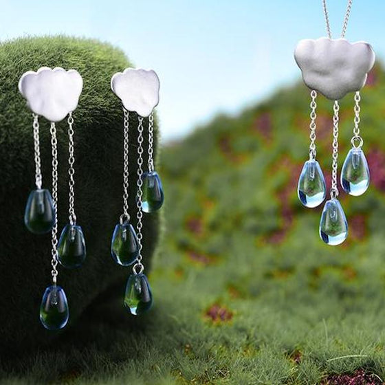 Handmade 'Clouds and Raindrops' Jewellery Set