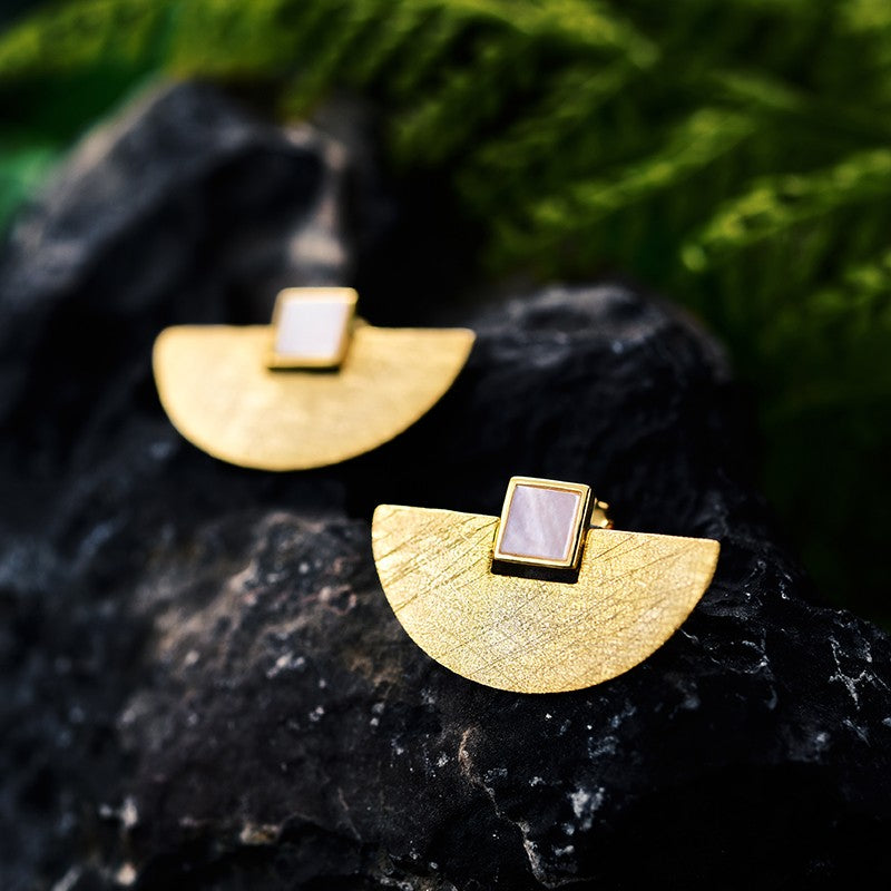 Handmade Elegant Moon Gold and Sterling Silver Stud Earrings - Jewellery Online