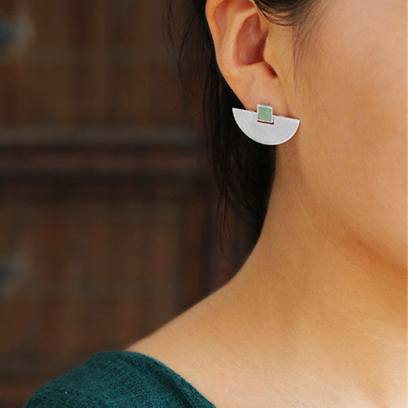 Handmade Elegant Moon Sterling Silver Stud Earrings - Jewellery Online