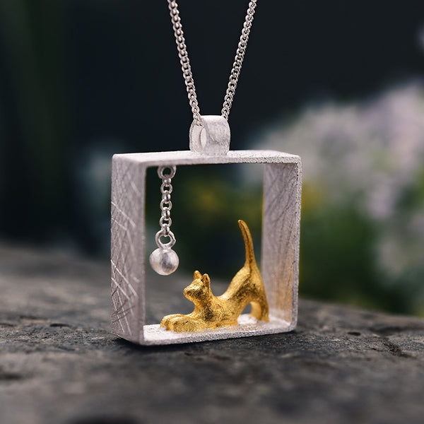 Handmade 'Playful Cat' Pendant - Sterling Silver 925