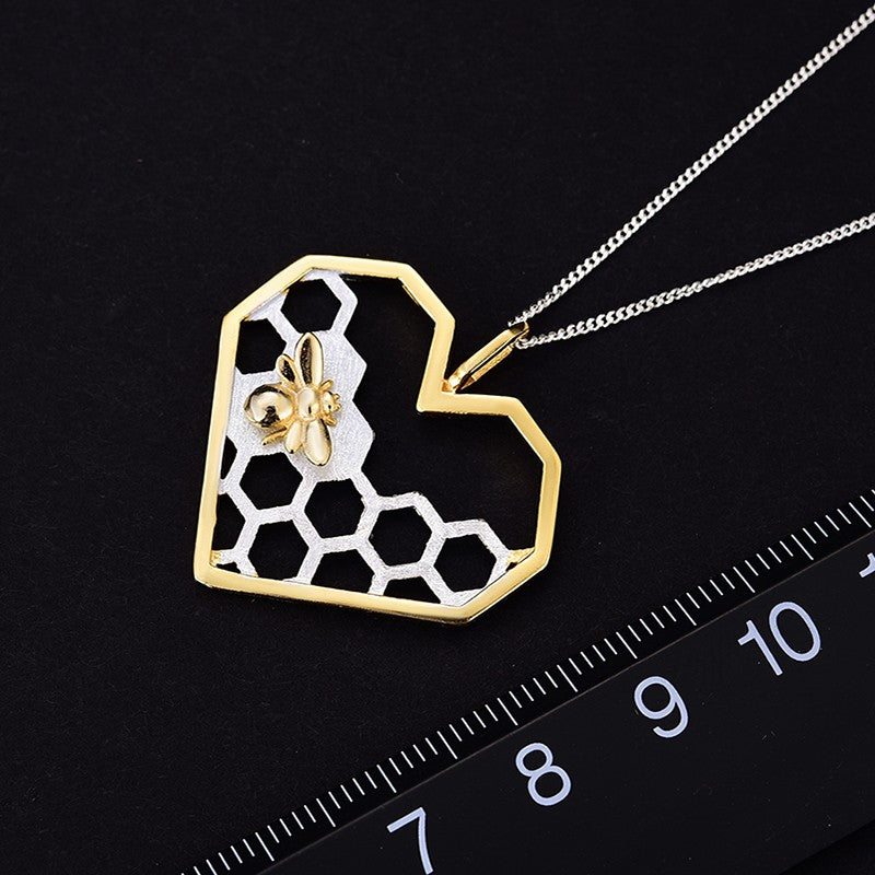 Handmade Honeycomb 'Home Guard' Heart-Shaped Pendant w/out Chain - Sterling Silver 925