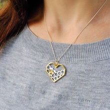 Load image into Gallery viewer, Handmade Honeycomb 'Home Guard' Heart-Shaped Pendant w/out Chain - Sterling Silver 925
