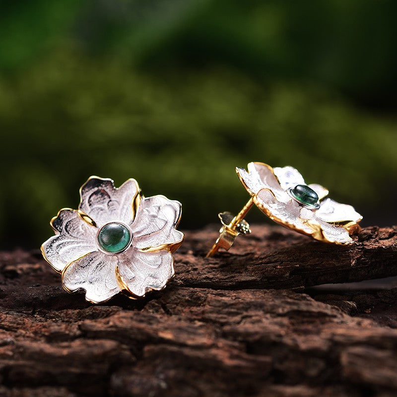 Handmade Peony Flower Stud Earrings - Sterling Silver 925