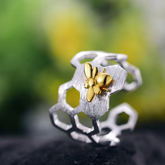 Handmade Honeycomb Gold Bee Silver Rings