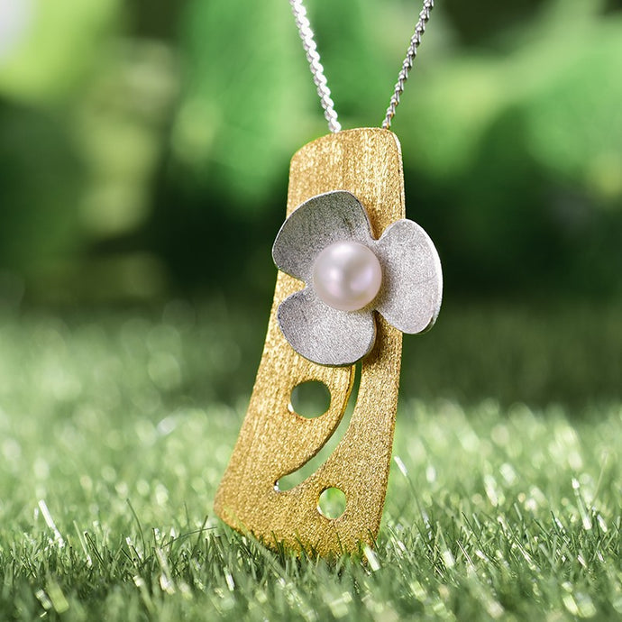 Handmade Fresh Clover Flower Pendant - Gold and Sterling Silver 925