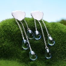 Load image into Gallery viewer, Handmade 'Clouds and Raindrops' Dangle Earrings - Sterling Silver 925