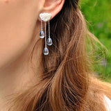 Handmade 'Clouds and Raindrops' Dangle Earrings - Sterling Silver 925