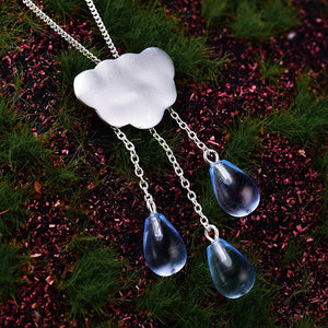 Handmade 'Clouds and Raindrops' Pendant - Sterling Silver 925
