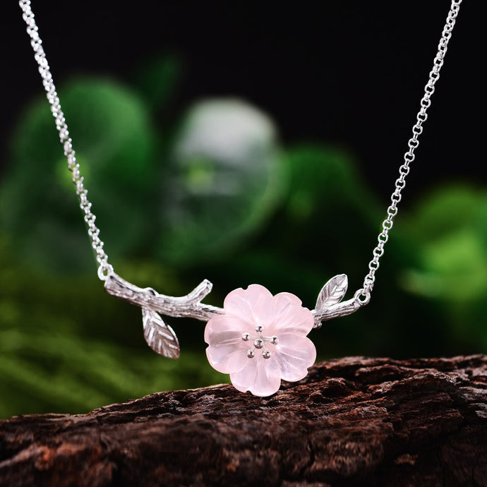 Handmade 'Flower in the Rain' Pendant Necklace- Sterling Silver 925