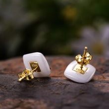 Load image into Gallery viewer, Handmade 'Bee Kiss from a Rose' Stud Earrings - Sterling Silver 925