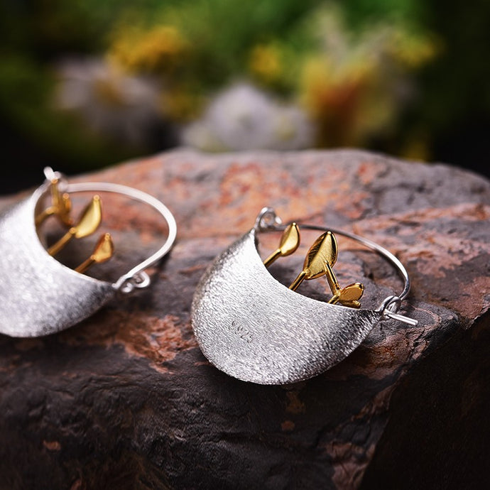Handmade 'My Little Garden' Drop Silver Earrings - Sterling Silver 925