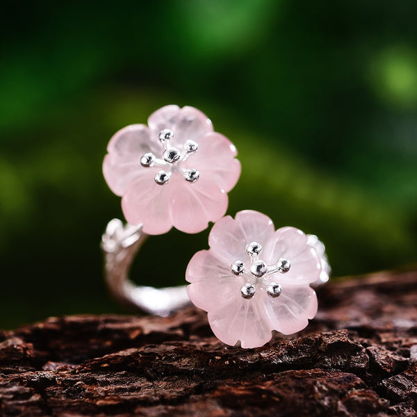 Handmade 'Flower in the Rain' Natural Crystal Rings - Sterling Silver 925