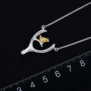 Handmade 'Bird and Wish Bone' Pendant Necklace - Sterling Silver 925