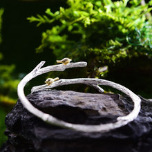 Load image into Gallery viewer, Handmade Bird on Branch Adjustable Bangle - 925 Sterling Silver